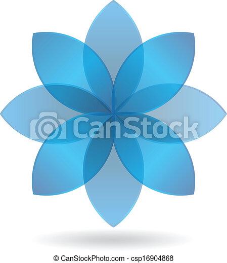 Stylish Blue Flower Logo - csp16904868
