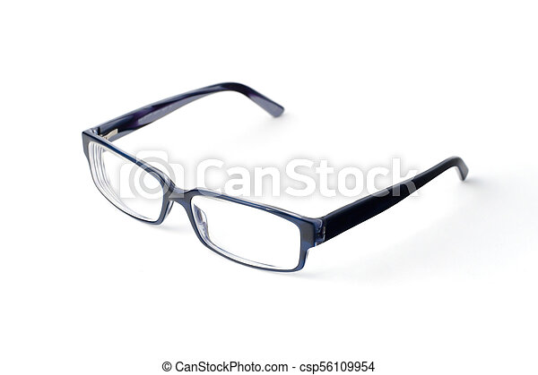 Stylish blue glasses with diopter lenses isolated on white background - csp56109954