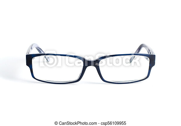 Stylish blue glasses with diopter lenses isolated on white background - csp56109955