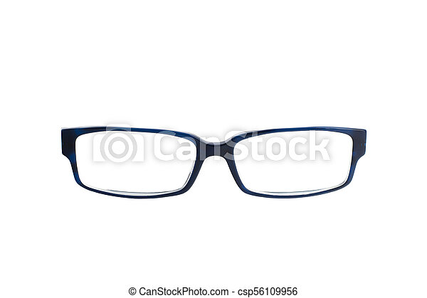 Stylish blue glasses with diopter lenses isolated on white background - csp56109956