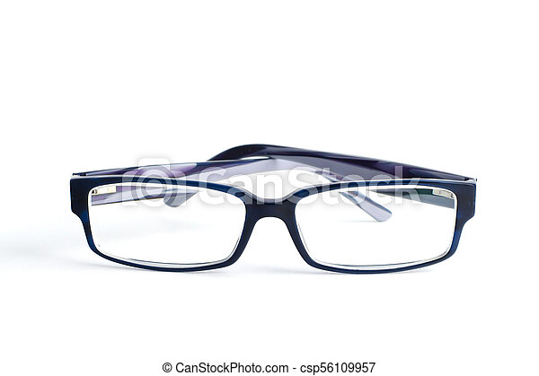 Stylish blue glasses with diopter lenses isolated on white background - csp56109957