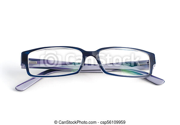 Stylish blue glasses with diopter lenses isolated on white background - csp56109959