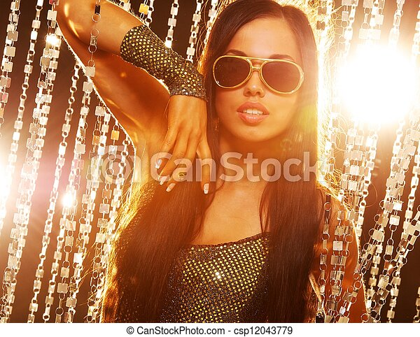 Stylish brunette in the nightclub - csp12043779