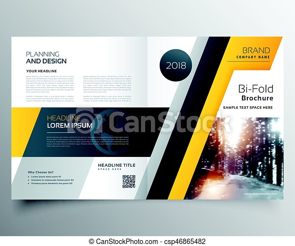 Stylish Business Bifold Brichure Or Magazine Cover Page Design Template In Vector