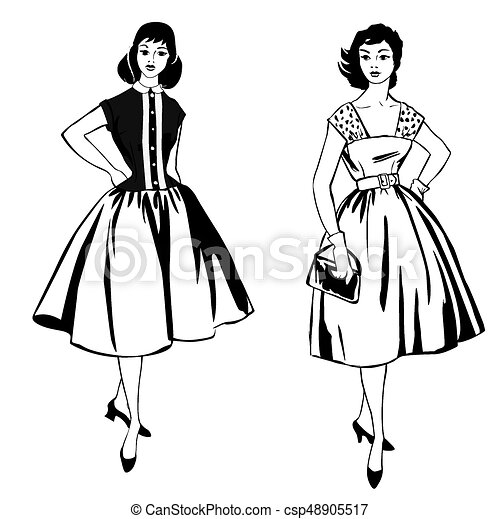 stylish cloth woman fashion dressed girl 1960 s style retro dress 1950s Clothing fashion dressed girl 1960 s style retro dress party csp48905517