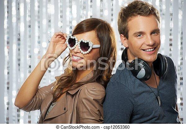 Stylish couple dancing in the nightclub - csp12053360