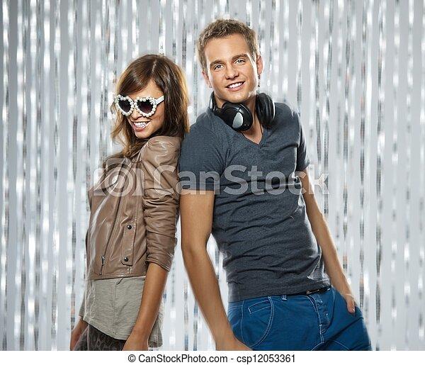 Stylish couple dancing in the nightclub - csp12053361