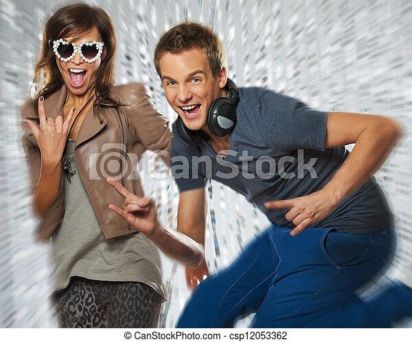 Stylish couple dancing in the nightclub - csp12053362