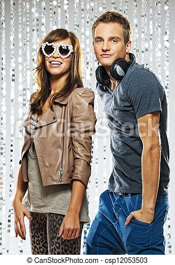 Stylish couple dancing in the nightclub - csp12053503