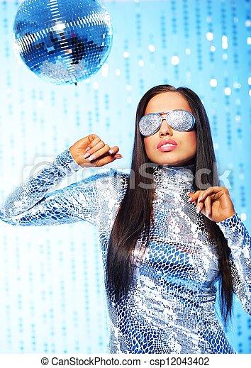 Stylish dancing woman in the club - csp12043402