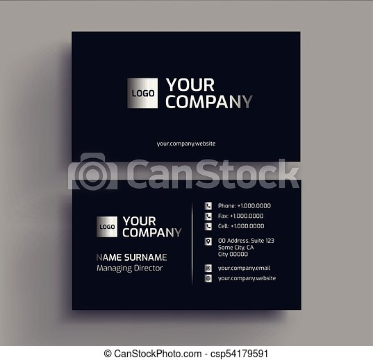 Stylish dark business card design template black silver platinum stylish dark business card design template csp54179591 reheart Image collections