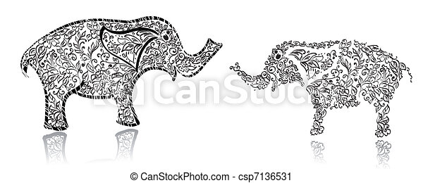 Stylish design elephant - csp7136531