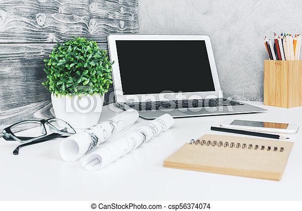 Stylish designer workspace closeup - csp56374074