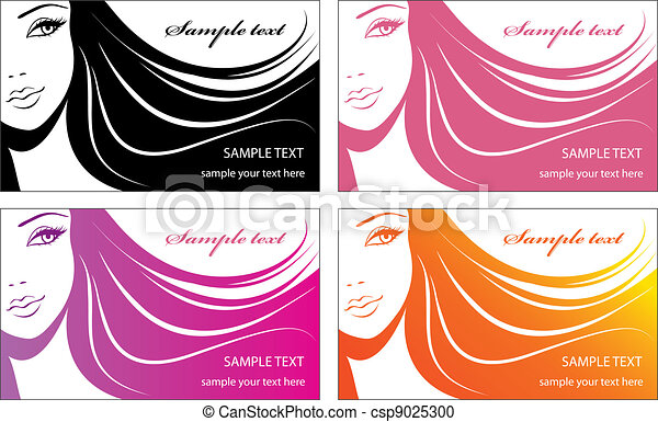 Stylish face of woman.Template design card - csp9025300