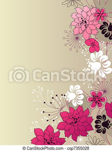 Stylish floral light pink background - csp7355028