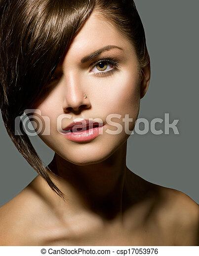 Stylish Fringe. Teenage Girl with Short Hair Style - csp17053976