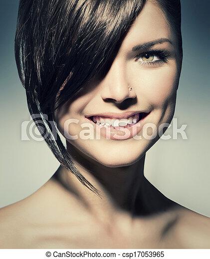Stylish Fringe. Teenage Girl with Short Hair Style - csp17053965