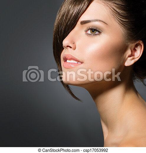 Stylish Fringe. Teenage Girl with Short Hair Style - csp17053992
