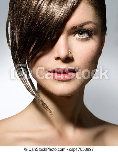 Stylish Fringe. Teenage Girl with Short Hair Style  - csp17053997
