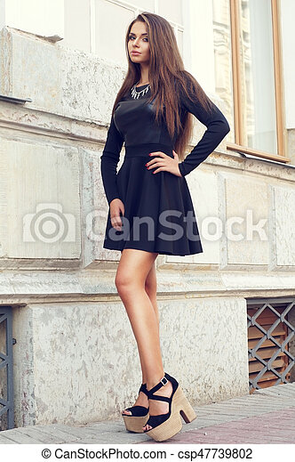 d6ca026e060 Full length portrait of young beautiful sexy stylish girl wearing ...