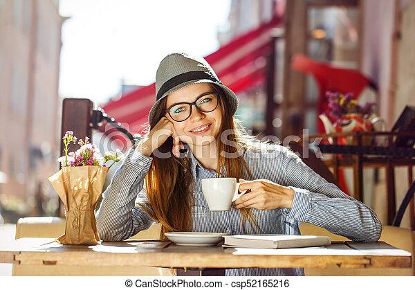 Stylish Girl with Coffee - csp52165216