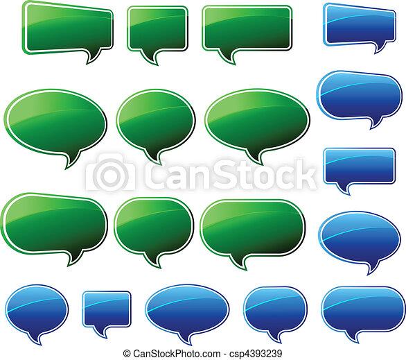 Stylish Green & Blue Speech Bubbles - csp4393239