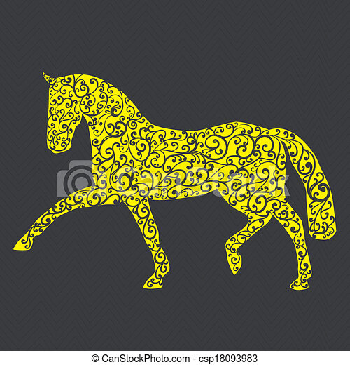 Stylish horse illustration made in  - csp18093983