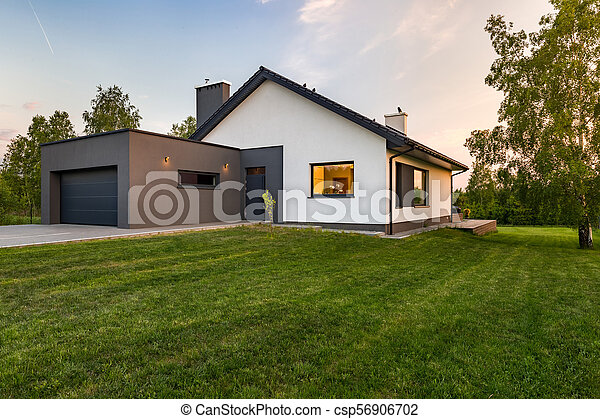 Stylish house with large lawn - csp56906702