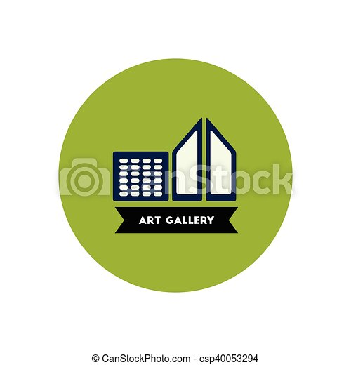 stylish icon in color circle building art gallery - csp40053294