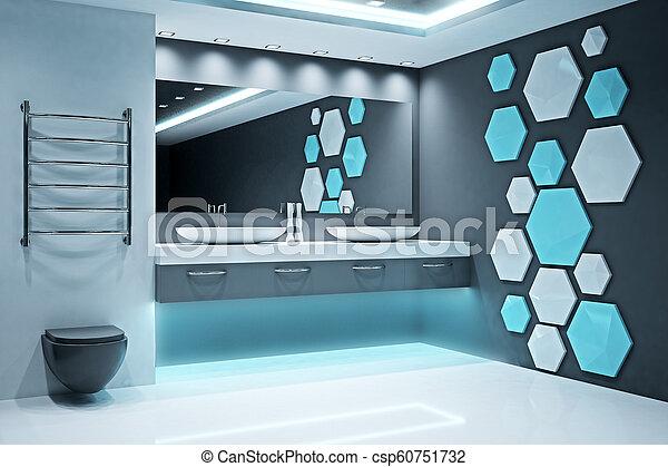 Stylish Illuminated Bathroom Interior Stylish Illuminated Futuristic Bathroom Interior Style And Design Concept 3d