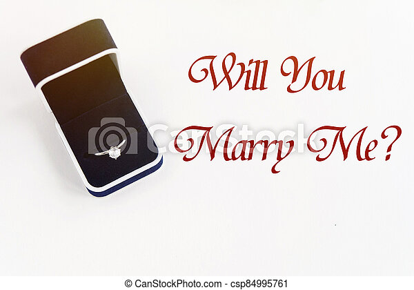 stylish luxury ring, will you marry me text, greeting card concept - csp84995761