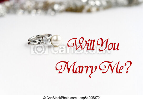 stylish luxury rings, will you marry me text, greeting card concept - csp84995872