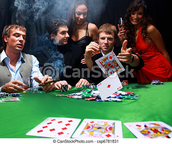 Stylish man in black suit folds two cards in casino poker at Las Vegas over black - csp6781831