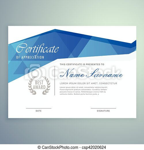 stylish modern certificate template design with blue abstract shapes csp42020624 - Modern Certificate Template