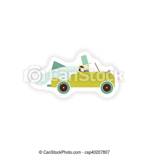 stylish paper sticker on white background groom and bride car - csp40207807