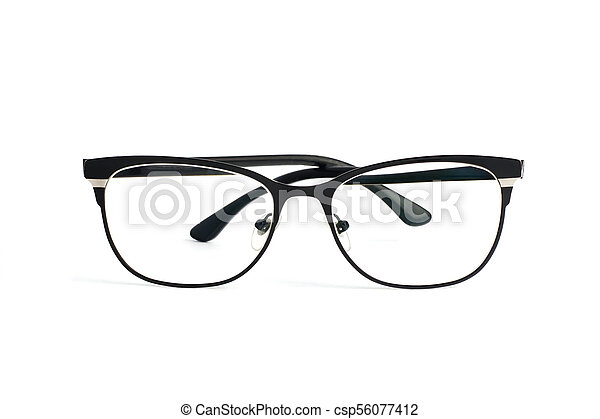 Stylish popular black glasses with diopters isolated on white background - csp56077412