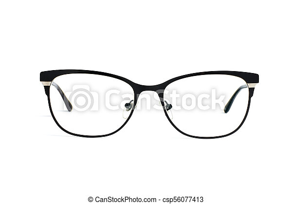 Stylish popular black glasses with diopters isolated on white background - csp56077413
