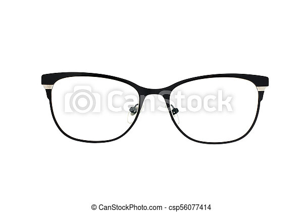 Stylish popular black glasses with diopters isolated on white background - csp56077414