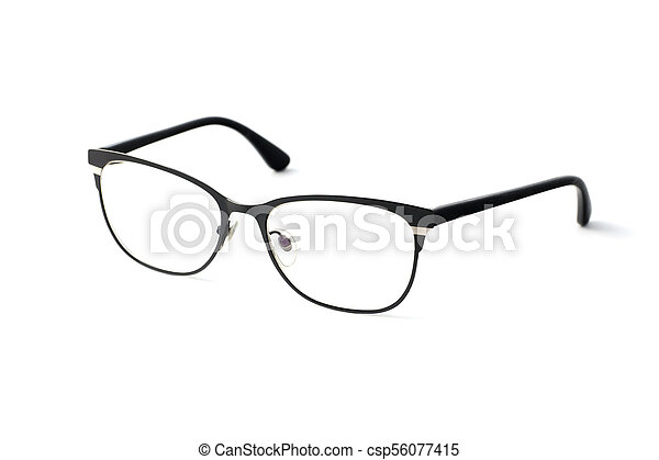 Stylish popular black glasses with diopters isolated on white background - csp56077415