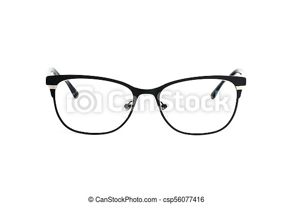 Stylish popular black glasses with diopters isolated on white background - csp56077416