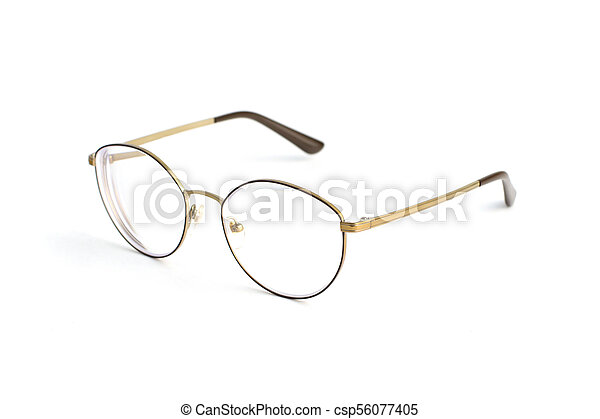 Stylish popular thin round glasses with diopters isolated on white background - csp56077405
