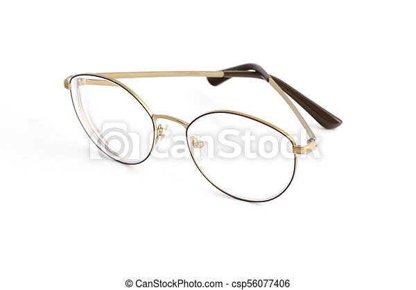 Stylish popular thin round glasses with diopters isolated on white background - csp56077406