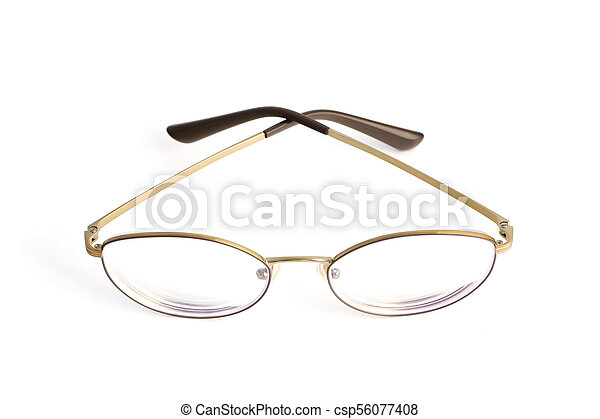 Stylish popular thin round glasses with diopters isolated on white background - csp56077408