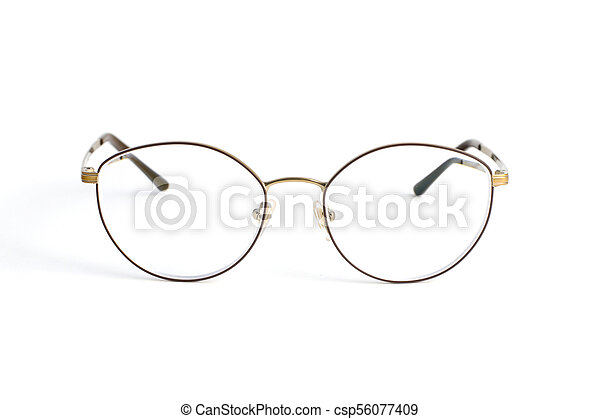 Stylish popular thin round glasses with diopters isolated on white background - csp56077409
