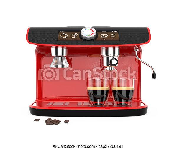 Stylish red espresso coffee machine - csp27266191