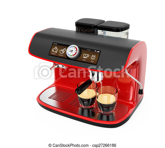 Stylish red espresso coffee machine - csp27266186