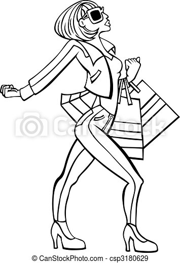 Stylish Shopper Line Art - csp3180629