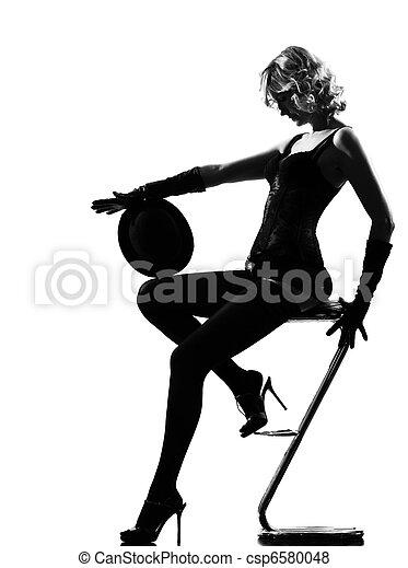 stylish silhouette woman dancing cabaret - csp6580048