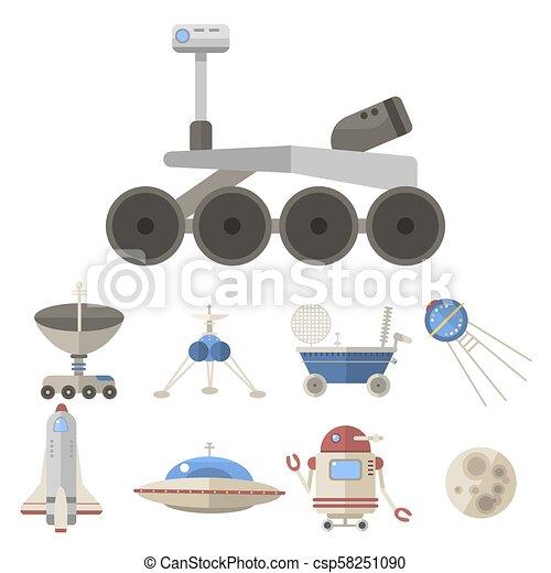 Stylish space ship constellation astrology radar cosmos universe technology meteor science shuttle astronaut rocket satellite vector. - csp58251090