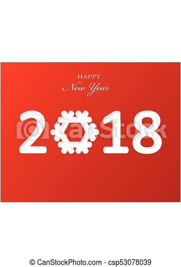 Stylish text design 2018 with snowflake for Happy New Year celebration. Red background paper Vector Illustration - csp53078039
